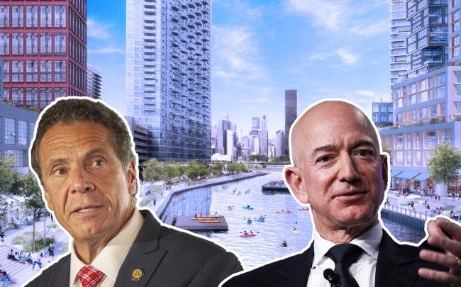 Governor Andrew Cuomo and Amazon CEO Jeff Bezos with renderings of Anable Basin