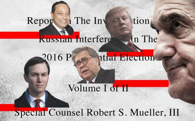 From left: Jared Kushner, Felix Sater, William Barr, Donald Trump, and Robert Mueller (Illustration by Kevin Rebong for The Real Deal; Credit: Getty Images and iStock)