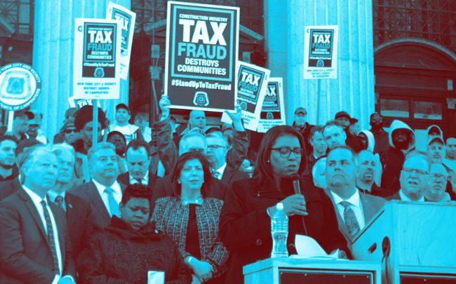 Attorney General Tish James on Monday speaks at construction tax fraud rally outside James A. Farley Post Office
