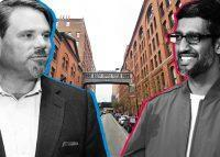 From left: Jamestown's Michael Phillips with the Milk Building at 450 West 15th Street and Google's Sundar Pichai with the Chelsea Market building at 75 Ninth Avenue (Credit: Google Maps; Phillips via CoStar; and Pichai via Getty)