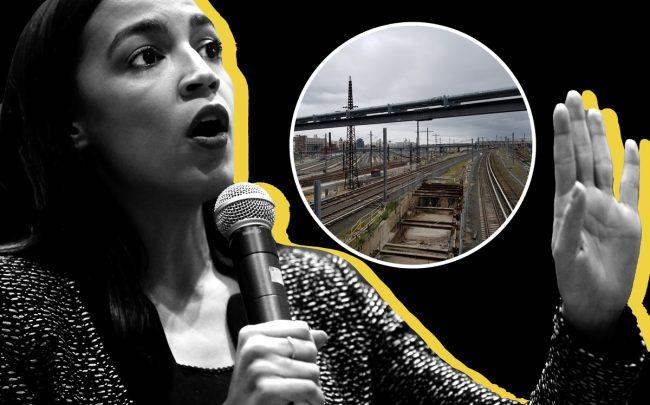 U.S. Rep. Alexandria Ocasio-Cortez and Sunnyside Yards (inset) (Credit: Getty Images and Wikipedia)