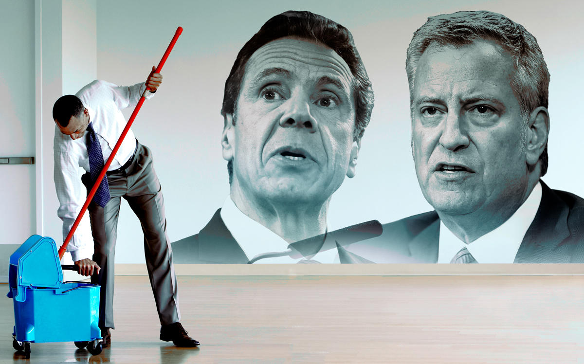 New York landlords are preparing for coronavirus outbreaks in their buildings, but say they will need help when the rent checks stop. (Governor Andrew Cuomo by by Bruce Bennett/Getty Images; Mayor Bill de Blasio by EuropaNewswire/Gado/Getty Images)