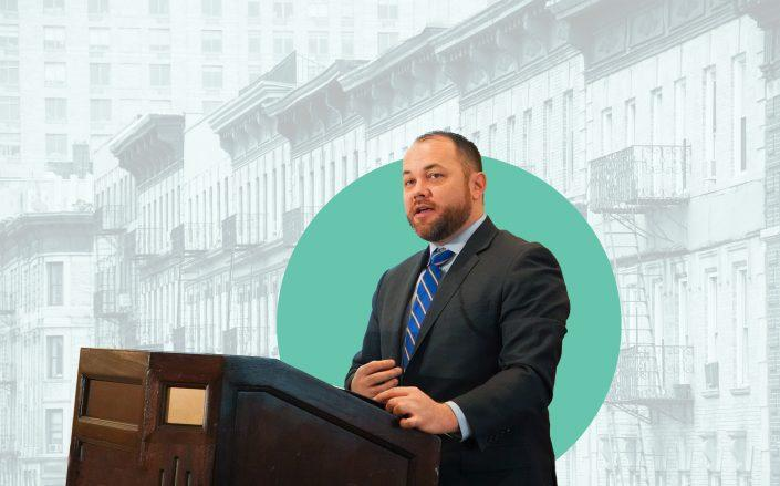 New York City Council Speaker Corey Johnson (Johnson by Rob Kim/Getty Images for Food Bank For New York City; iStock)