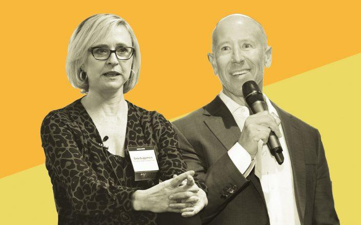 TPG Real Estate Finance Trust CEO Greta Guggenheim and Starwood Capital CEO Barry Sternlicht (Getty)