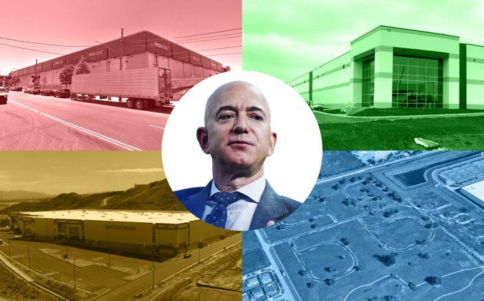 Amazon CEO Jeff Bezos with (clockwise from top left: 1055 Bronx River Ave. in Bronx, NY; 3507 W. 51st St. in Chicago; 13200 Southwest 272nd St. in South Miami-Dade, Florida; 28820 Chase Place in Valencia, California (1055 Bronx River Ave via Google Maps; 3507 W. 51st St. via 42 Floors; 13200 Southwest 272nd St. via Google Maps; 28820 Chase Place via IAC Commerce Center)