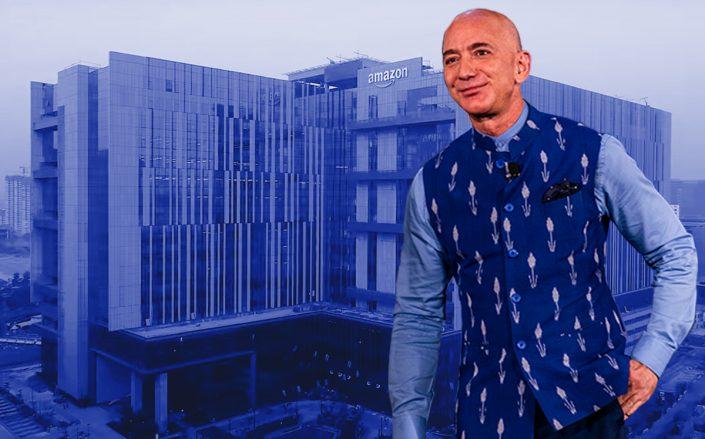 Jeff Bezos and the Amazon building in Hyderabad (Getty, Youtube/Amazon India)