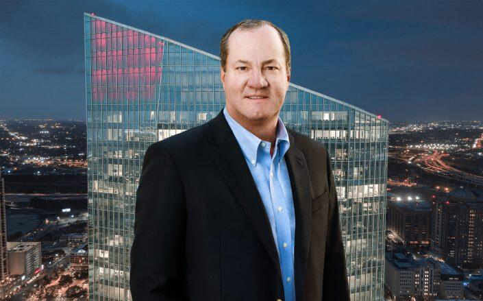 Hines chairman and CEO Jeff Hines with 609 Main in Houston, Texas (Hines)
