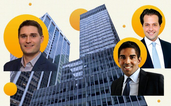 From left: Bain Capital Credit's David DesPrez, SKW's Ayush Kapahi and Danny Wrublin with 111 Wall Street (Google Maps, Getty, Chance Yeh)