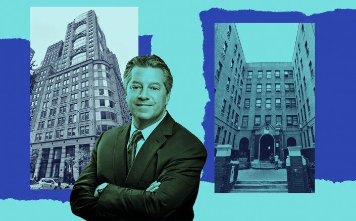 SL Green CEO Marc Holliday with 461 Fifth Avenue and 220 East 197th Street in Fordham (SL Green, Google Maps)